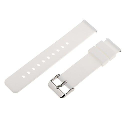 MagiDeal 1 STK. Silikon Uhrenarmband mit Federleiste und Edelstahlschnalle für Armbanduhr - Weiß, 18mm