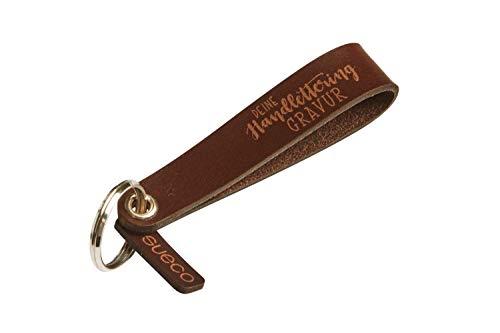 Personalisierter Schlüsselanhänger aus Leder mit beidseitiger Gravur (Text Koordinaten Intialen) - Schlaufe - Individuelles Geschenk Mann und Frau