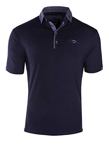 Herren Poloshirt Kontrast Kragen Kurzarm Polohemd T-Shirt Baumwolle, Farbe:Dunkelblau, Größe:XXL