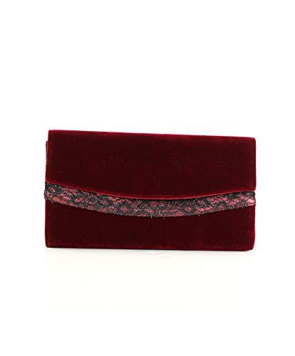 Eferri Glamour, Bolso de noche fiesta Tom para Mujer, Rojo Burdeos, 30x16x5 cm