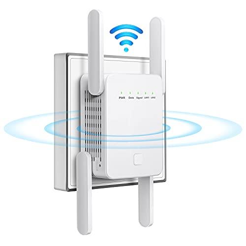 Ripetitore WiFi, Amplificatore WLAN, Ripetitore WLAN, 1200 Mbit/s per Presa 5 Ghz / 2,4 Ghz Dual Band WiFi Amplificatore con Modalità AP, Ripetitore, Router WPS/porta LAN