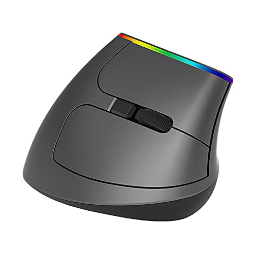 Gcsheng Wireless Mouse Ergonomic Vertical Mouse 2.4GHZ WiFi 1600 DPI RGB Light 57 Degree Fit for PC Laptop Computer Optical Mice Gaming Mice (Color : Black)