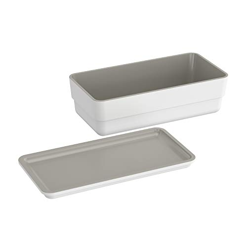 Bath+ by Cosmic Bsmart Complementos Caja de almacenaje Tapa, Blanco - Gris, 21.7 x 10.9 x 6.7 cm