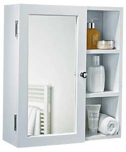 Mobile da bagno con specchio singolo di alta qualità con ripiani – bianco.