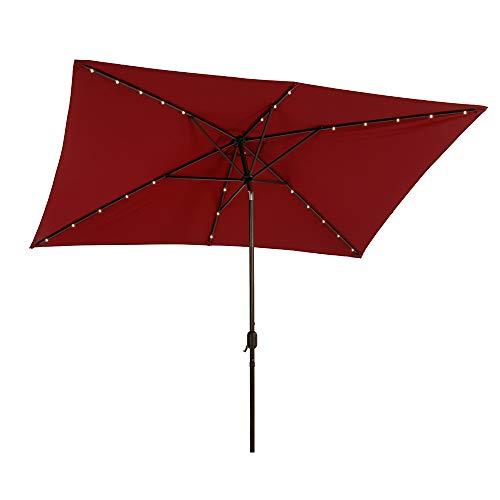 SFJ-CA Rectangular 6.5 x 10FT Patio Umbrella Outdoor Market Table LED Umbrella with 26 Solar Lights, Tilt, Push Button, Crank, 6 Sturdy Ribs - Red