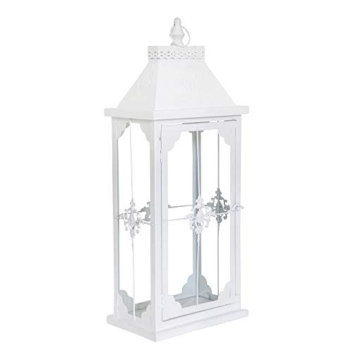 Smalle lantaarn Castle 58 cm wit mat landhuislantaarn voor de vensterbank ornament
