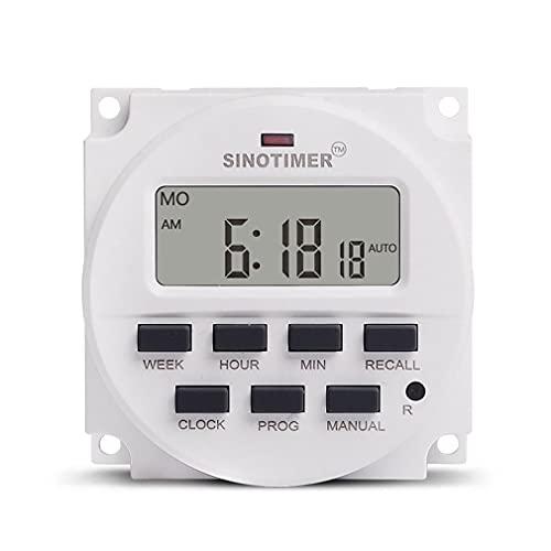 HehiFRlark 5V 12V 24V 110V 220V Digital 7 días Interruptor Temporizador programable semanal Blanco 24V TM618H-3