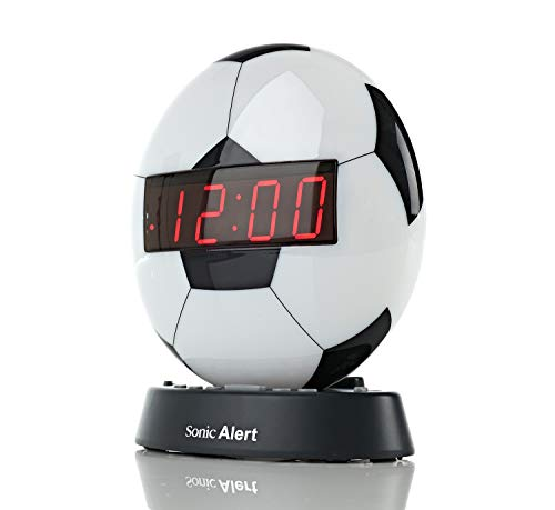 Sonic Alert Soccer Alarm Clock Nightlight | Soft Ambient Light for Children in The Dark | Recordable Alarm Clock for Heavy Sleepers | Built-in Speaker, Aux Connection, Battery Backup