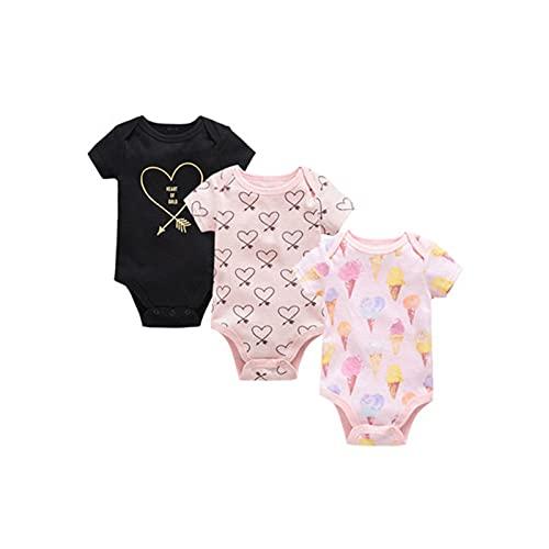 LOKKSI - Pack de 3 monos de bebé para niña de animales, ropa de bebé, 100% algodón, estampado de dibujos animados de manga corta de 0 a 12 meses
