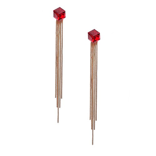 Idin Jewellery–Cube gold-tone catena e pendenti con pendenti in cristallo rosso clip su orecchini