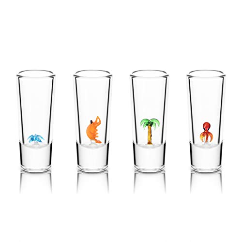 IOC Quintana Roo Authentic Mexican Artisanal Tequila Shot Glasses with Glass Tropical Figurines 4 Shot Glass Pack 2 Oz 50 ML- Fun Tequila Shot Original Unusual Kitchen Gifts