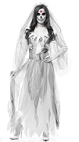 Mujeres Cosplay Creepy Skeleton Disfraz de Halloween Horror Ghost Dead Corpse Zombie Vestido de Novia Vestido de Halloween Suministros (Color : Blanc, Size : XL)