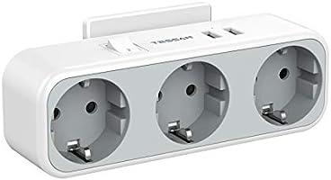 TESSAN Prise USB, Multiprise Murale avec 3 Prises et 2 Ports USB, Chargeur USB Multiple 5 en 1 avec Interrupteur, Prise...