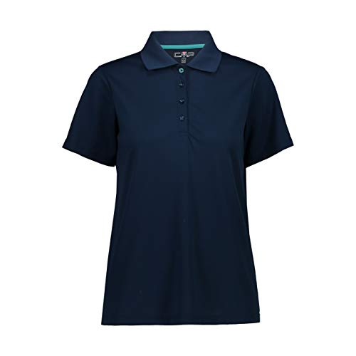 CMP Damen Short Sleeve Polo Shirt Comfort Fit Poloshirt, Blue, D46