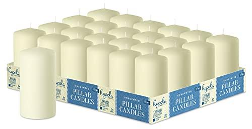 Hyoola Elfenbein Stumpenkerzen 50 X 101 mm - 24er Pack - 25 Stunden Brenndauer - Unparfümiert Groß Stumpen Kerzen