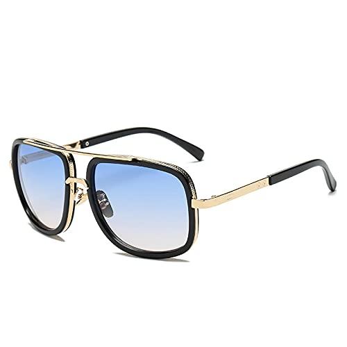 Gafas De Sol Gafas De Sol Rectangulares Vintage para Hombre, Gafas De Sol con Espejo Geniales para Mujer, Gafas Retro Uv400, Estilo Clásico, Azul Degradado