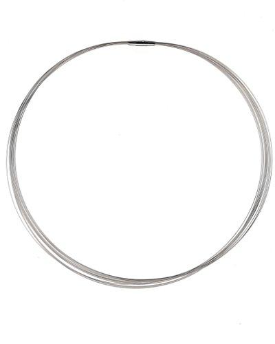 AQT 03.98 Damen Halskette, 10 reihig 10 x 0,5 mm, SE-Verschluss ® Ø 3.50 mm, 55 cm lang, Edelstahl