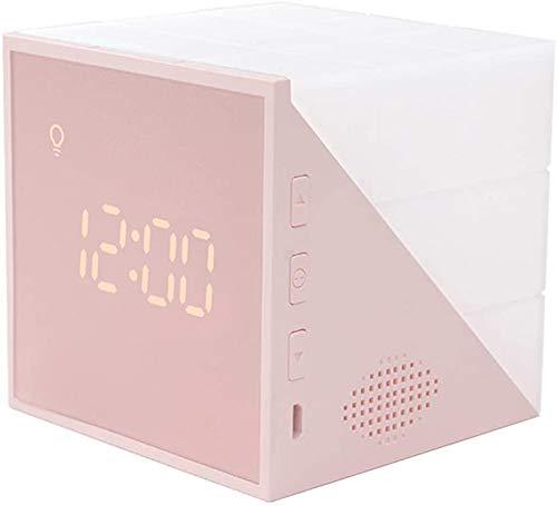 VABOO Reloj despertador para niños, Reloj Despertador Infantil Digital con luz nocturna LED y Función Snooze, 2 Alarmas, 6 Sonidos Naturales,Reloj Silencioso Despertador Recargable para Niños,