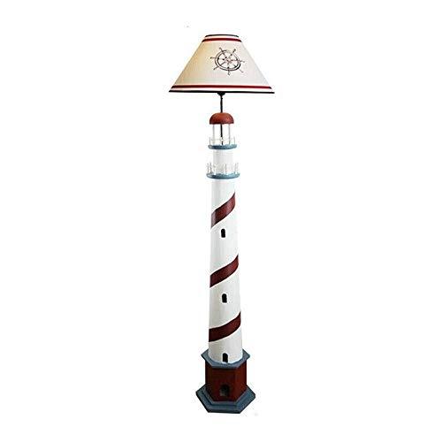 Hmvlw lámpara de Piso Dormitorio Lámpara de pie de Madera Maciza Creativa mediterránea Faro Lámpara de pie Hecha a Mano Retro Modelo de Estar Sala sólido Registro de Madera Vertical de la lámpara