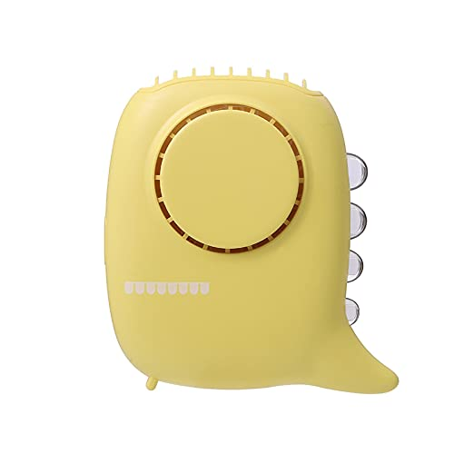 LWZ Ventilatore da Collo sospeso, Grande Vento e Piccolo Ventilatore, utilizzato per Sport, Ufficio, Viaggi, attività all'aperto,Giallo
