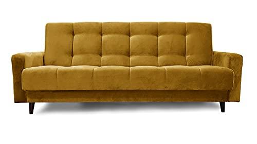 Senfgelb Sofa Nancy BIS Polstersofa Dreisitzer 195x116 cm Couch Polstersofa Schlafsofa Wohnzimmercouch