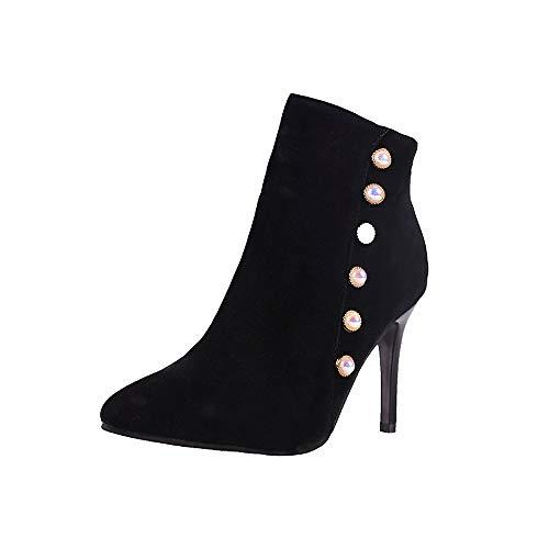 Logobeing Botines Mujer Tacon Ocio Zapatos de Perlas Antideslizantes con Cordones de Tacón Fino Tubo Corto Botas Martin Zapatos Plataforma Mujer
