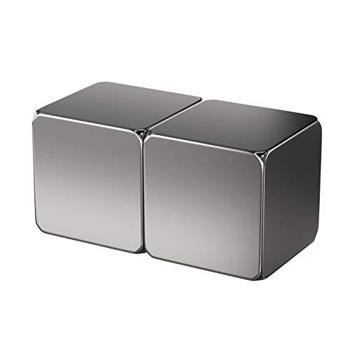 2X Neodym Power Magnet Silber - Magnetwürfel extra stark eckig 15x15x15mm - Starke Magneten Supermagnet - Haftkraft ca. 12 kg - Magnete für Whiteboard, Pinnwand, Magnettafel, Werkstatt