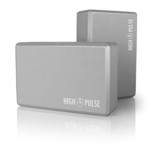 High Pulse® Yoga Block 2er Set (Hartschaum, grau) – Hochwertige Yogablöcke aus Schaumstoff als praktisches Zubehör und Hilfsmittel für Übungen, die eine hohe Flexibilität erfordern