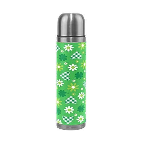 BKEOY Mug de voyage isotherme en acier inoxydable à double paroi anti-fuite avec motif fleur verte et cœur imprimé personnalisé en cuir véritable 500 ml