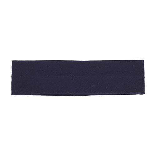 Beliebte einfarbige Baumwolle Stirnband breiter Turban Sport schweißband Frauen Outdoor Fitness elastische Haarband Yoga Haarschmuck neu (Color : Navy Blue)