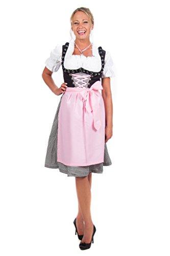 Edelnice Trachtenmode Mini Dirndl 3-teilig schwarz rosa kariert mit passender Bluse und Schürze