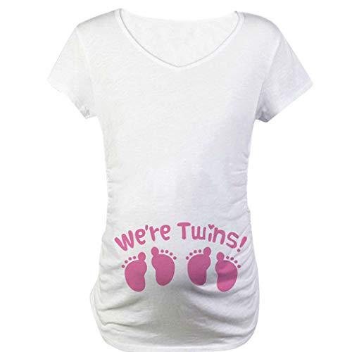 Witzige süße T-Shirt Top Oberteil Schwangere Kurzarm Umstands Tshirt Umstandstop Umstandsmode Cute Baumwolle Schwangerschaft Shirt Kurzarm