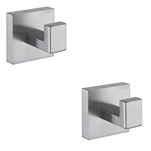 XVL Robe Hook Coat Hook SUS304 Stainless Steel Wall Mounted Brushed 2 Pieces