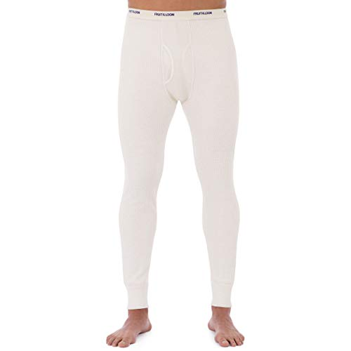 Fruit of the Loom Men's Classic Midweight Waffle Thermal Underwear Bottoms (1-Pack), Natural, Medium