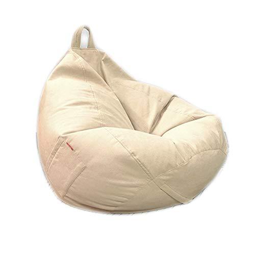 LDIW Große Sitzsack Sitzkissen ohne Füllung, Premium Riesen-Sitzsack-Hülle Sitzsack Außenbezug Groß Sessel Bezug, Ideal für Jugendliche und Erwachsene,Beige,M