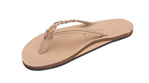 Rainbow Sandals Women's Flirty Braidy Premier Leather w/Single Braided Strap, Sierra Brown, Ladies X-Large / 8.5-9.5 B(M) US