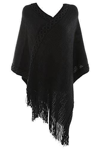 FEOYA Poncho para Mujer Escote Bordado Flores Chaqueta de Punto Flecos Diseño Envolvente Regalo Navidad 86 * 80cm Entretiempo Estaciones