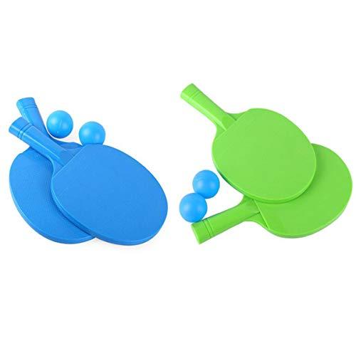 Fiyuer 2 Sets Tischtennisschläger Set Kinder Tischtennisbälle Outdoor Kunststoff Ping Pong Paddel für Anfänger Training Freizeit-Kit Accessoires