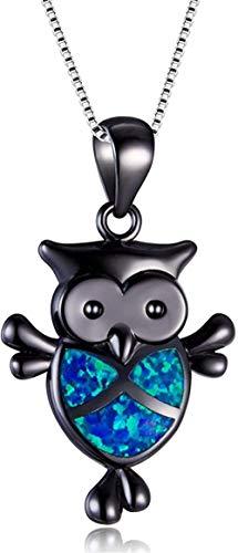 Big Owl Pendant Necklaces Fashion White Blue Fire Opal Necklace Vintage Animal Wedding Necklaces