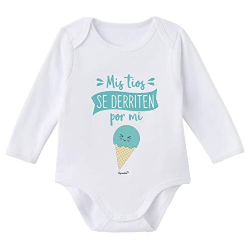 SUPERMOLON Body bebé manga larga Mis tíos se derriten por mi Blanco algodón para bebé 0-3 meses