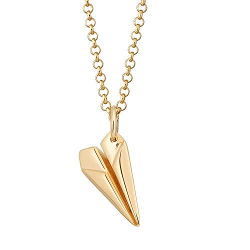 Lily Charmed - Collana con ciondolo a forma di aereo di carta, in argento Sterling 925, placcato in oro 18 carati, con catenina da 45 cm e Argento, colore: Oro, cod. CNGPP-1