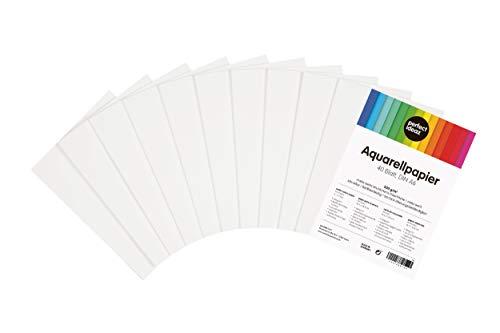 perfect ideaz 40 Blatt DIN-A6 Aquarell-Papier 300 g, Mal- & Zeichen-Block in weiß, Wasser-Farben Karton, watercolor paper für Skizzen, Aquarelle, Lavis, Gouache, Tempera &...