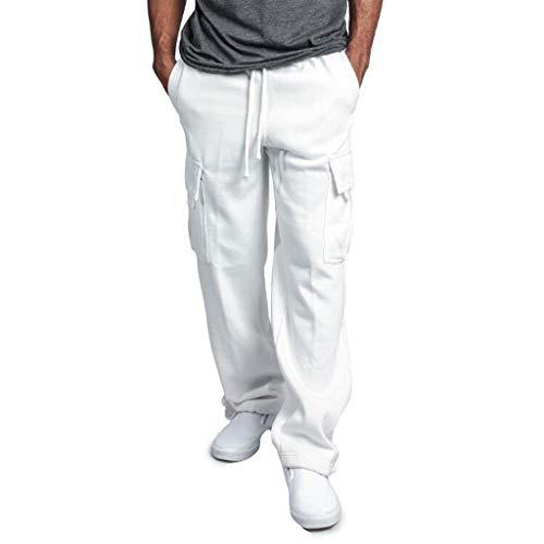 Kobay Hommes Splicing Salopette DéContractéE Pantalon De Travail DéContracté Pocket Sport Work(Medium,Blanc)