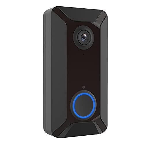 ZJQ-Kit Timbre Inalámbrico, IP65 Prueba Agua, Cámara WiFi Inteligente 1080P, Detección Movimiento PIR, Audio 2 Vías, 140 ° Gran Angular, para Protección Seguridad Hogar,Negro