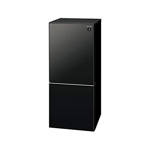 シャープ SHARP ガラスドア 冷蔵庫 (幅48.0cm) 137L プラズマクラスター 両開き 2ドア (つけかえどっちもドア) ピュアブラックSJ-GD14F-B