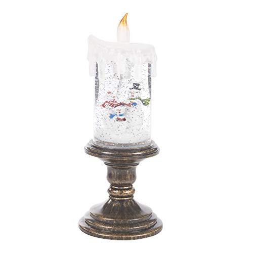 The Christmas Workshop Scintillement Bougie, Base en cuivre avec LED Blanc Chaud, 26 cm de Hauteur x 10 cm de diamètre