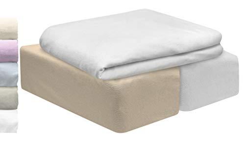 Lovely Hippo | Juego 3 PZA | 2 Sábanas para Cuna Algodón Bio & 1 Protector Impermeable para colchón | Grandes Gorros elásticos completos | Oeko Tex para Cuna (Crema, 60 x 120 cm)
