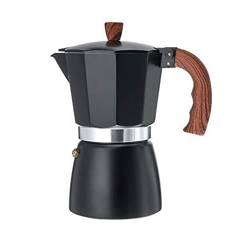 Hangrow Espresso-Kaffeemaschine für Espresso, Aluminium-Kaffeekanne, Mokkakanne, 430 Edelstahl, mit Holzgriff, 150 ml / 3 Tassen