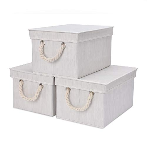 StorageWorks Storage Bins with Lids, Decorative Storage Boxes with Lids and Cotton Rope Handles, Mixing of Beige, White & Ivory, Large, 3-Pack