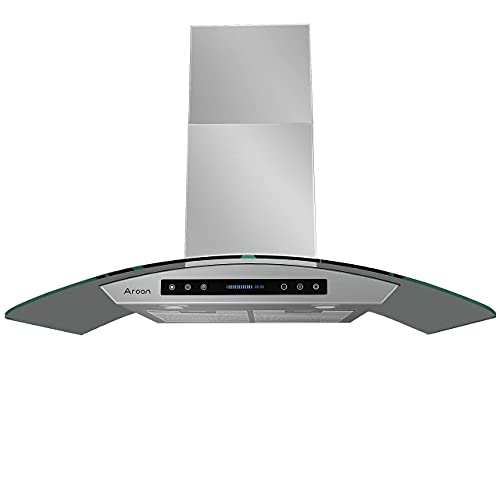 AROAN 30 inch Wall Mount Glass Range Hood, Stainless Steel Kitchen Chimney Vent Hood with 780 CFM &...